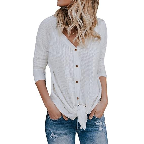 Camisa Larga del Botón de Las Mujeres Cuello V Manga Larga Cárdigan Camiseta Casual Top Blusa