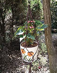 "h-made 4pierna 36""café algodón cuerda macramé Plant percha para 8–10"" macetas Plant soportes"