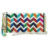MARY FRANCES Zig Zag Beaded Colorful Chevron Pattern Zip Top Crossbody Wristlet Handbag