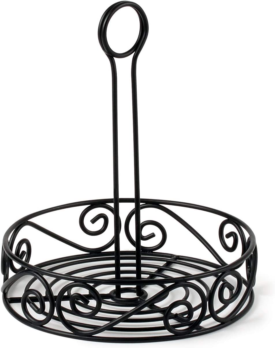 Spectrum Diversified Scroll Stand Steel Condiment Caddy for Restaurants & Homes, Coffee Station Office Décor, Rust-Resistant Seasoning & Sauce Holder, Black