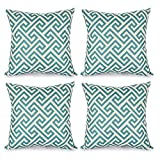 Decorative Pillow Cover - Top Finel Durable Cotton Linen Square Decorative Throw Pillows Cushion Covers Pillowcases For Sofa 18 x18 inch Set of 4-labyrinth