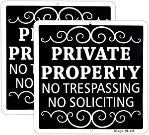 """Dxsigns Metal Private Property No Trespassing Sign No Soliciting Sign for House 9""""x9"""" Rust Free Aluminum UV Ink Printed,Durable/Weatherproof (2 Pack)"""