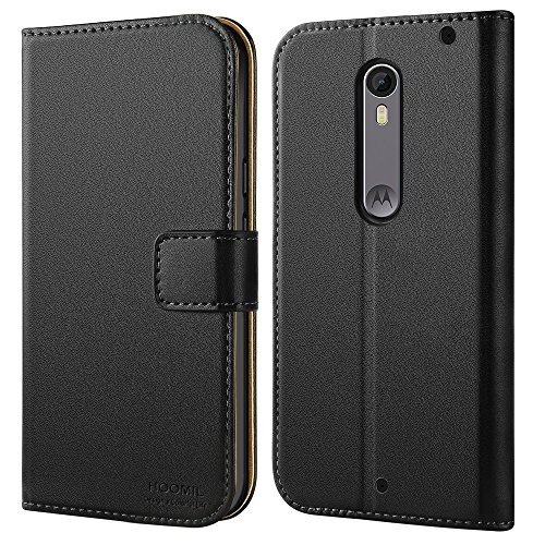 Moto X Pure Edition Case, HOOMIL Premium Leather Case for Motorola Moto X Pure Edition / Moto X Style (2015) Phone Wallet Case Cover (Black)
