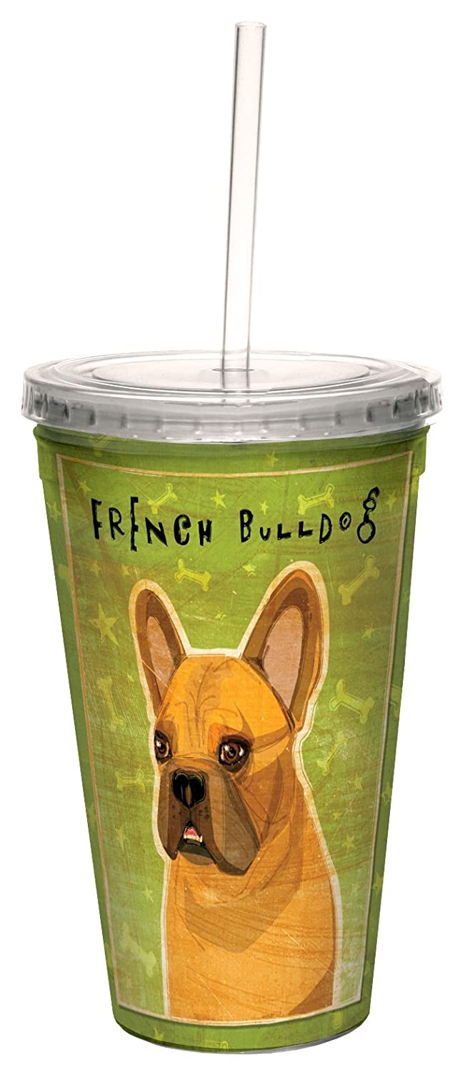 Tree-Free Greetings cc34021 Fawn French Bulldog by John W Golden Artful Traveler Double-Walled Cool Cup with Reusable Straw 16-Ounce