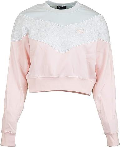 precedente eficiencia piel  Nike Heritage Crew - Sudadera para mujer rosa/gris L: Amazon.es: Ropa y  accesorios