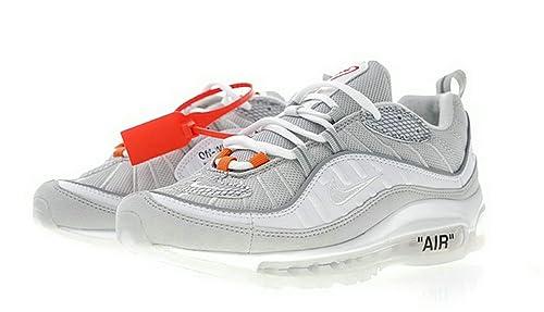 Off White x Air MAX 98 OG Grey White Zapatillas de Running para Hombre: Amazon.es: Zapatos y complementos
