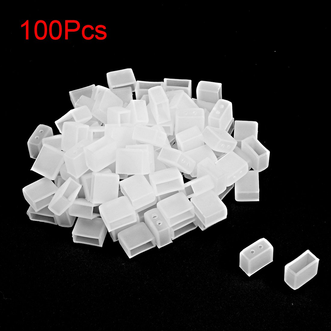 uxcell/® 50pcs Silicone Plug Fit 3528 8mm Wide LED Tube Strip Light End Cap Cover w 2 Holes White
