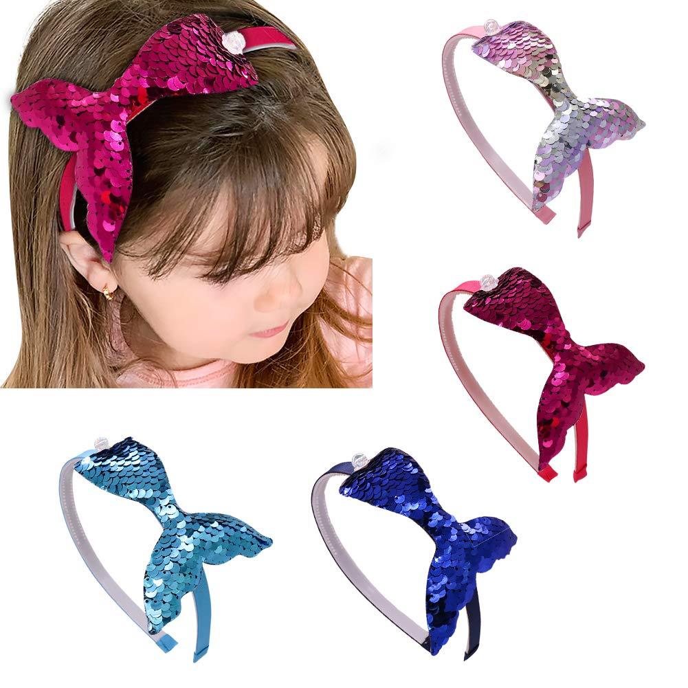 Fascia per capelli a forma di coda di sirena colori assortiti 4 pezzi DEHUB con paillettes