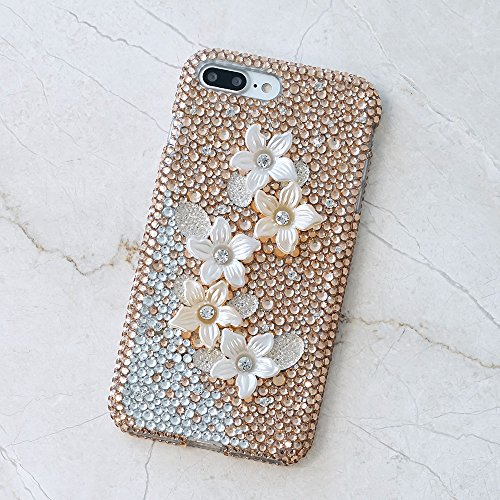 - Galaxy S8 PLUS Case, LUXADDICTION [Premium Handmade Quality] 3D Bling Genuine Crystals Hybrid Protective Cover for Samsung S8+ Golden Posies Design
