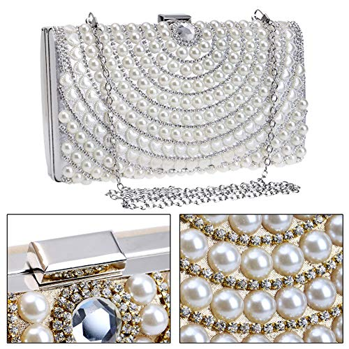 Dress Silver Handbag Chain Wedding Pearls Bags Purse Womens Evening For Clutch qYxvyg4