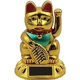 Superfreak® Winkekatze Glückskatze winkende Katze Maneki Neko Solar, Farbe gold, Größe 8cm