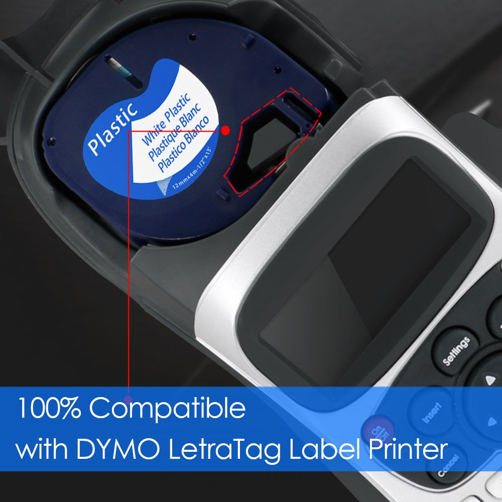 LetraTag Label Tape 91331(S0721610), Startup LetraTag plastic Refill Tape Black on White, Compatible with Dymo Label Makers LetraTag Plus LT100H LT100T QX50, 1/2 Inch(12mm) 13 Feet, 4-Pack by Startup (Image #2)