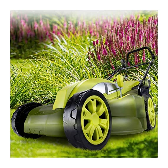 Sun Joe MJ403E Mow Joe 17-Inch 13-Amp Electric Lawn Mower/Mulcher 8 Maintenance free – No gas, oil or tune-ups Powerful 13-amp motor cuts a 17-inch wide path Tailor cutting Height with 7-position Height control