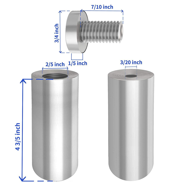LuckIn 12pcs Sign Standoffs 1//2 x 2-2//5 Wall Standoff Screws Mounting Advertising Nails Brushed Nickel Stainless Steel Glass Standoffs Hardware Kit