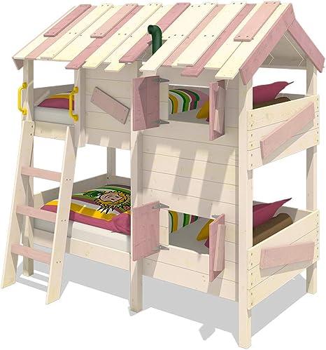 Cama infantil con techo de madera y contraventanas WICKEY CrAzY Creek 90 x 200 cm: Amazon.es: Bricolaje y herramientas