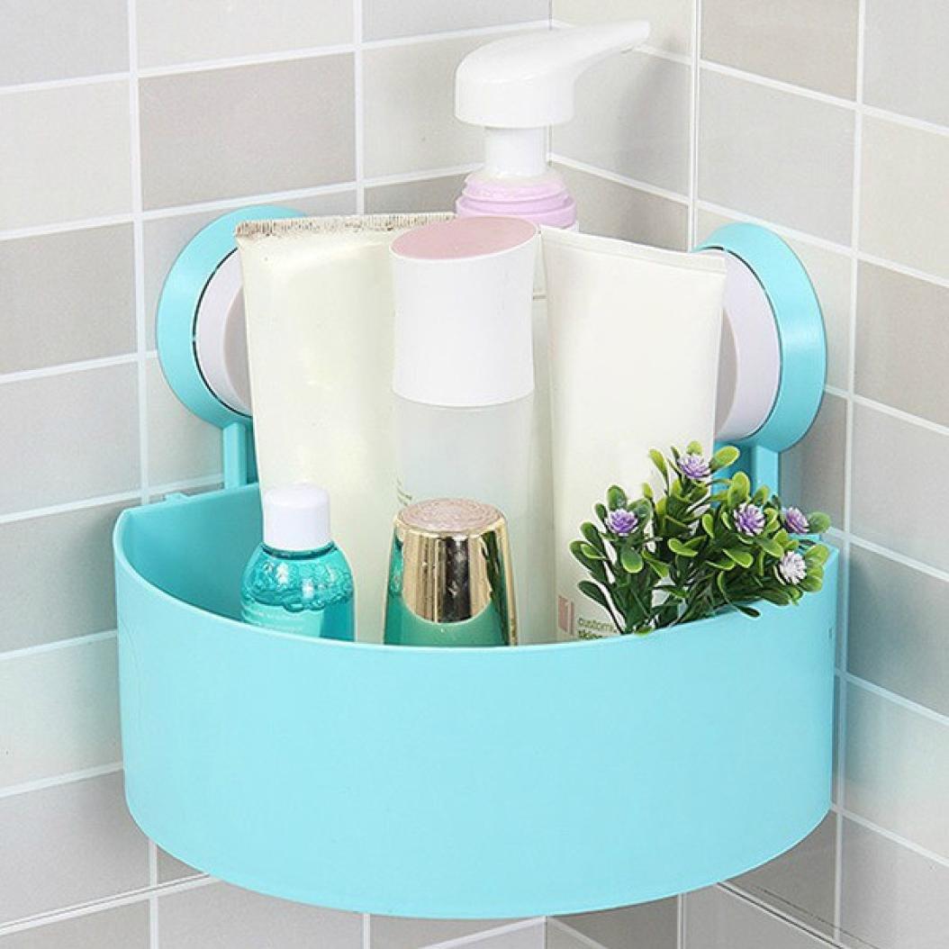Remiel Store Plastic Strong Suction Cup Bathroom Shower Shelf Kitchen Corner Storage Organizer Holder (Blue, 15x15x7.5cm.)