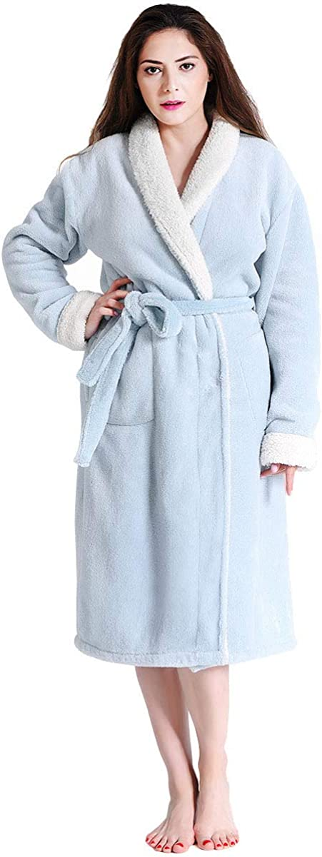 FINDOUX Womens Fleece Robes Soft Plush Long Bathrobe Winter Thick Kimono Robes for Women Warm House Coat