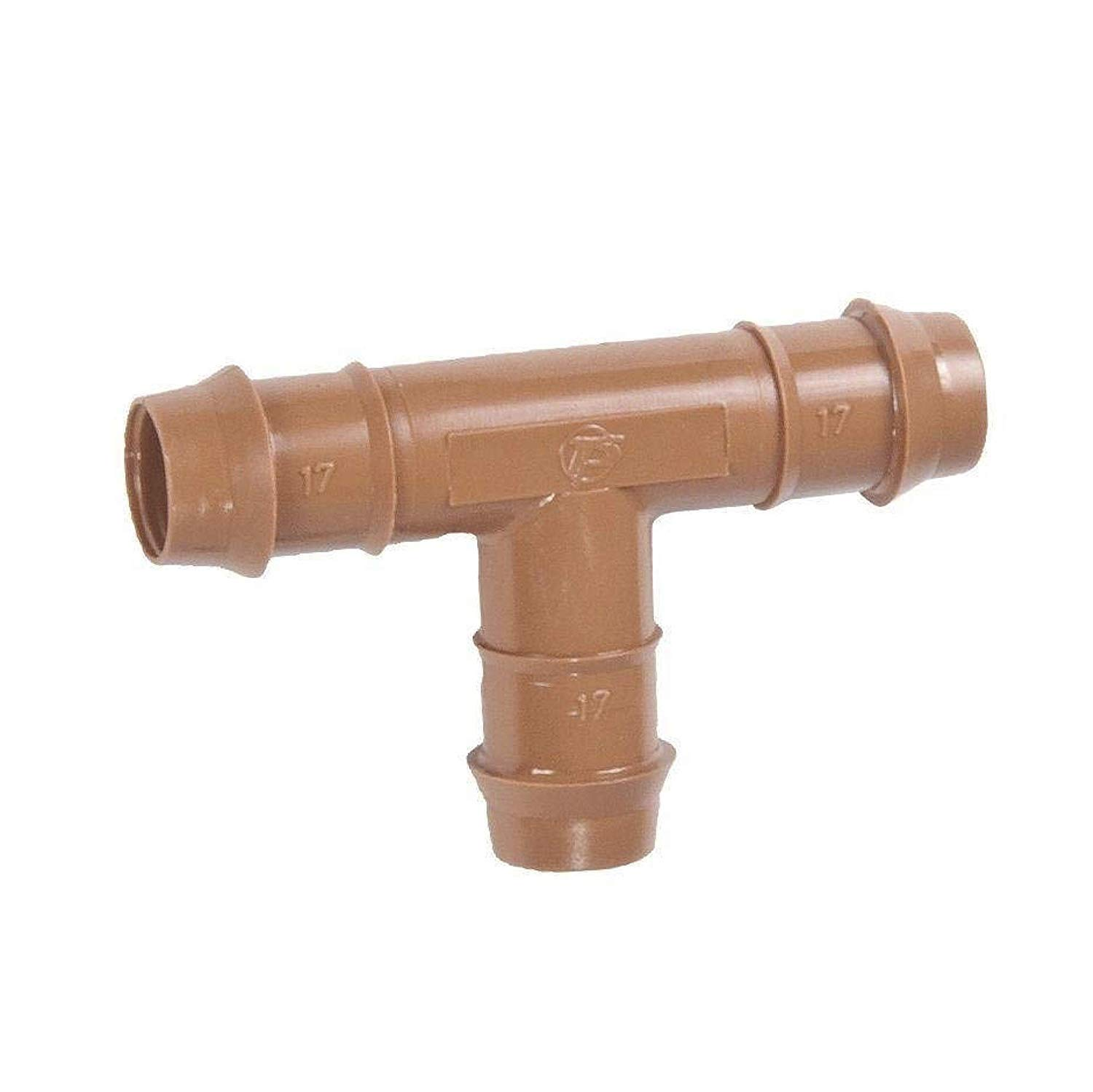 1//2 Inch Drip Irrigation Barbed Tee Connector Fitting Fits of 17mm.600 ID Drip Tubing Fits of 17mm.600 ID Drip Tubing DIG 10-Pack