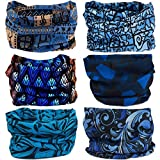 Multifunctional Stretchable Sport & Casual Headwear, Headband Scarf Bandanna Headwrap Mask Neckwarmer & More 12-in-1, 6PC.Blue Series