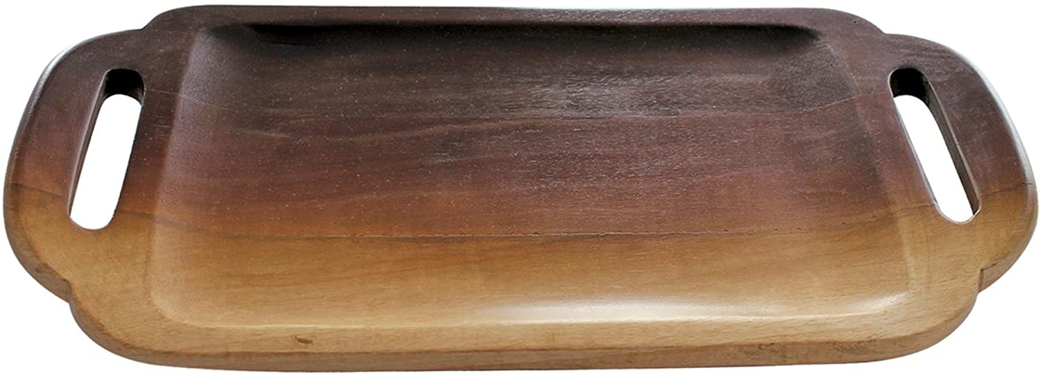 Be Home Ombre Mango Wood Tray with Handles, Mango Wood