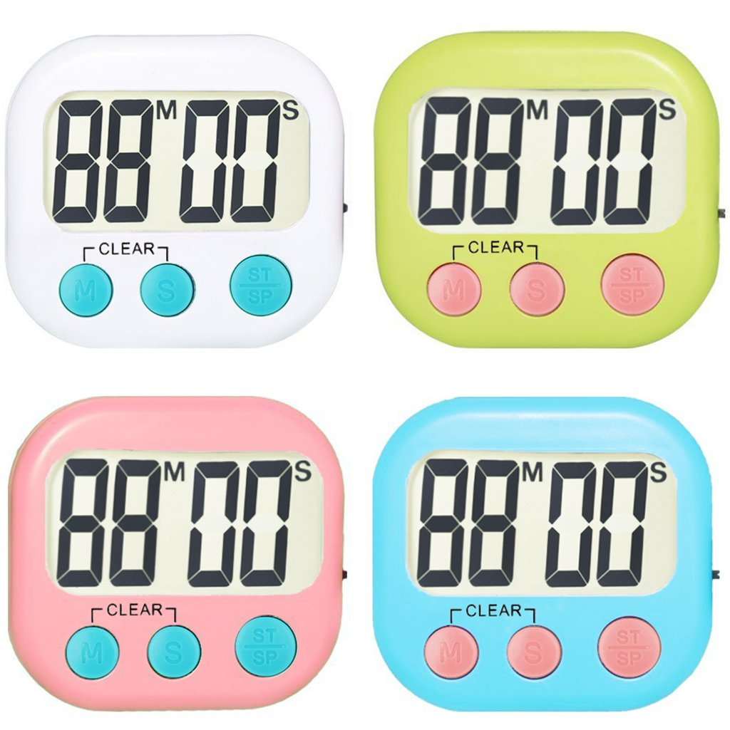 4 Pack Digital Kitchen Timer Strong Magnetic Electronic Countdown and Count up, Loud Alarm Small Size by WUTL