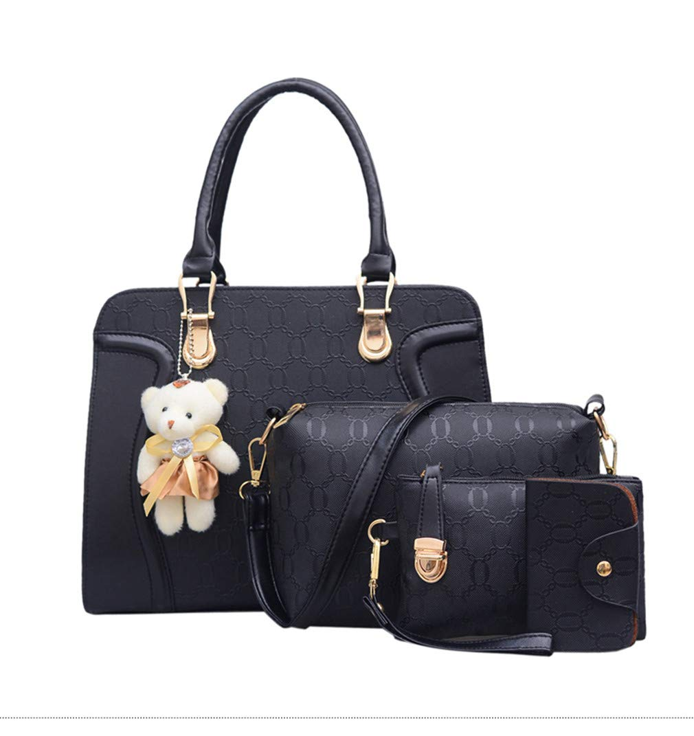 4Pcs Leather Bags Handbags With Bear Shoulder Female Casual Tote Women Messenger Bag Set