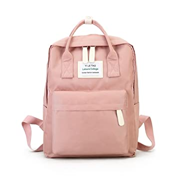 aced821b2b9 Amazon.com   Women Backpack Youth Korean Style Shoulder Bag Laptop Backpack  Schoolbags Teenager Girls Boys Travel Pink L27 W12 H36 cm   Backpacks