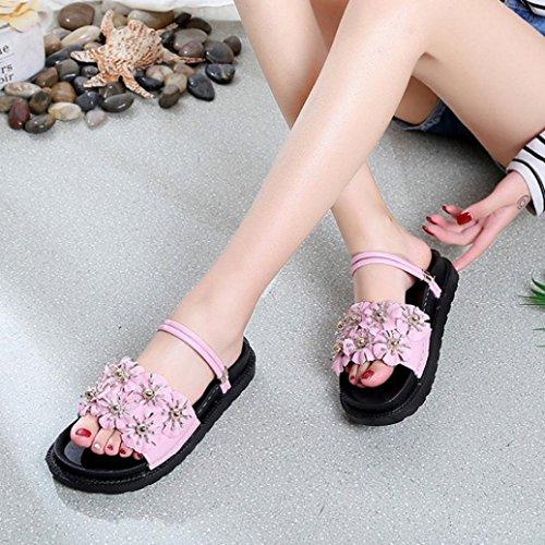 Sandales de Dorees Plage Talon Marche Sandales Blanches Tongs Plat de Femme de Fleur de Femmes Rose Beautyjourney de Sandales f8nRR