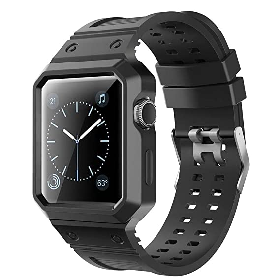 Amazon.com: For Apple Watch Case with Band, Kobwa 38mm/42mm ...