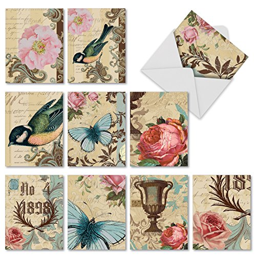 10 Note Cards with Envelopes - Assorted 'Victorian Garden' Blank Greeting Cards - Vintage All-Occasion Cards for Thank Yous, Weddings, Baby Showers - Stationery Notecards 4 x 5.12 inch M3972