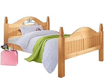 Landhaus Bett Massivholzbett Bett Schlafzimmerbett MIGUEL 140cm, Kiefer  Massiv Hell Gebeizt Geölt