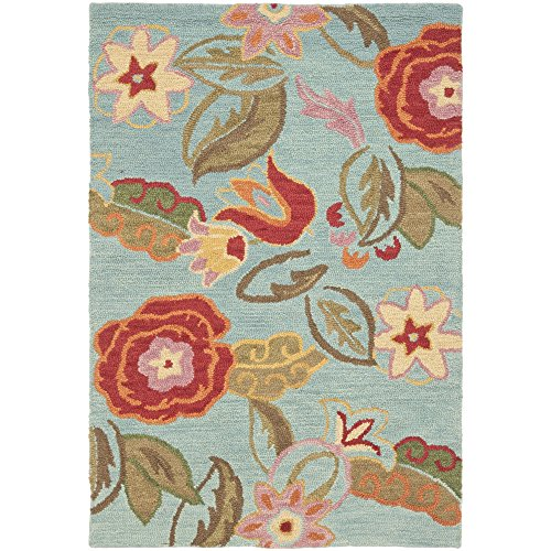 Safavieh Blossom Collection BLM675A Handmade Blue and Multi Premium Wool Area Rug (4' x 6')