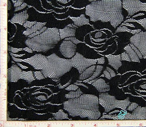 Black Big Flower Stretch Lace Fabric 4 Way Stretch Nylon Spandex 4 Oz 56-58