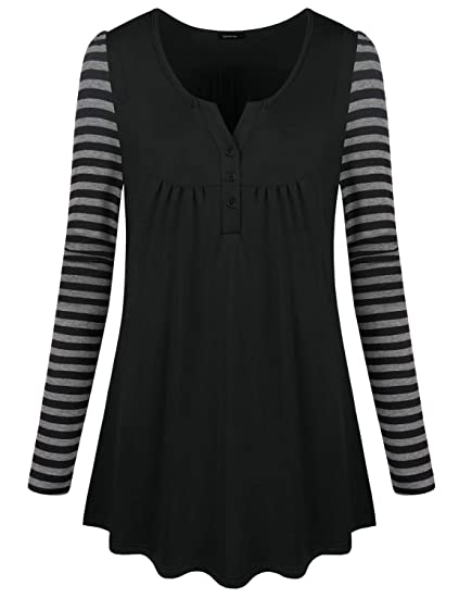 dbd30f708 Altelime Button Tunic Shirts for Women, Ladies Casual Henley V Neck Blouse  Color Block Striped