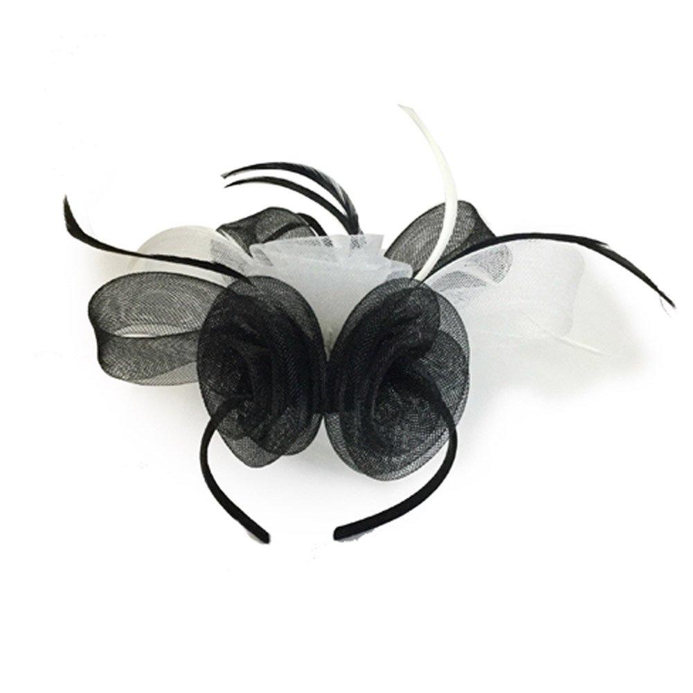 Black White MYCHARM Women Feather Mesh Net Fascinator Hat Hair Clip Cocktail Derby Race Royal Ascot
