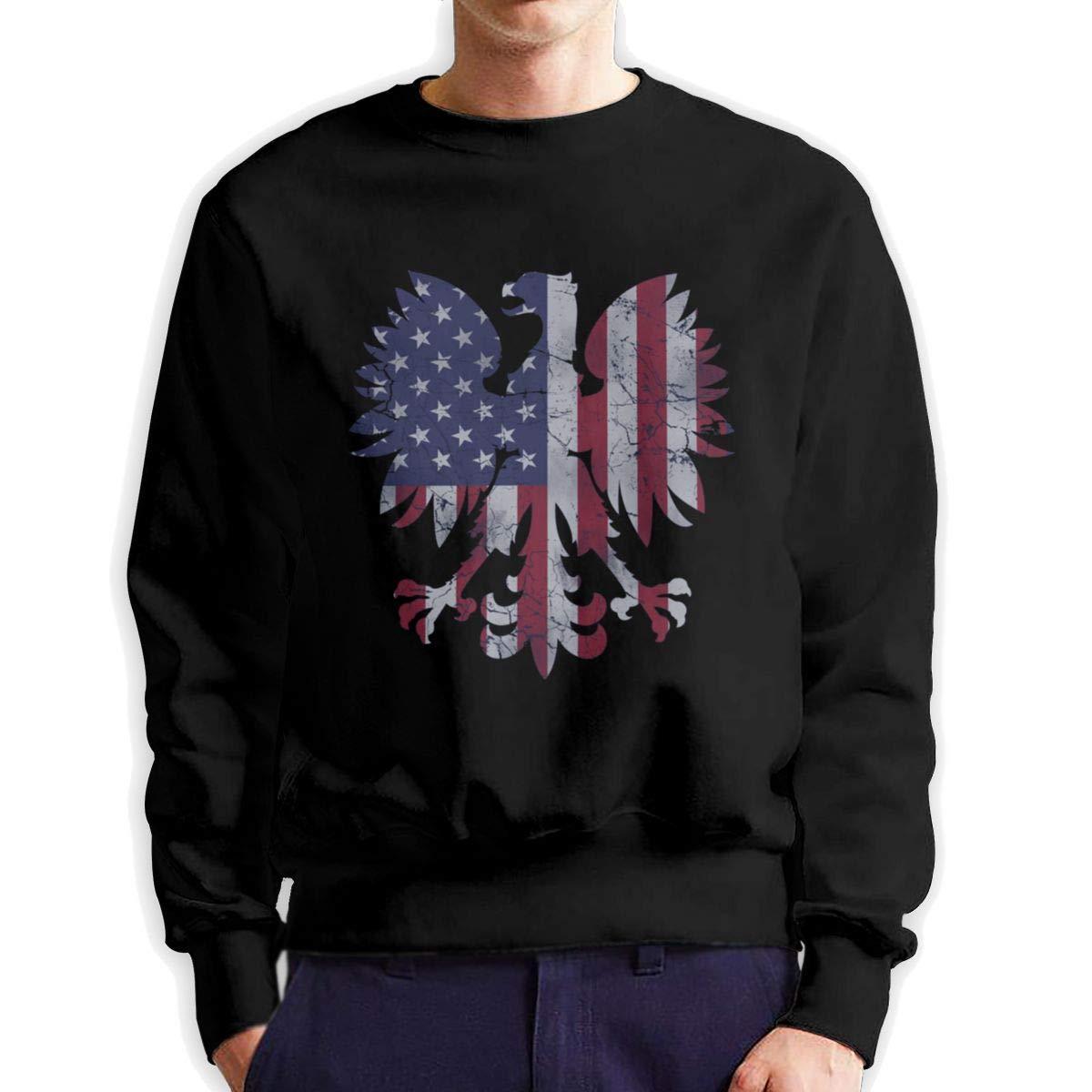 Jmgbsd Vintage Polish American Flag Eagle Men Long Sleeve T-Shirts Black