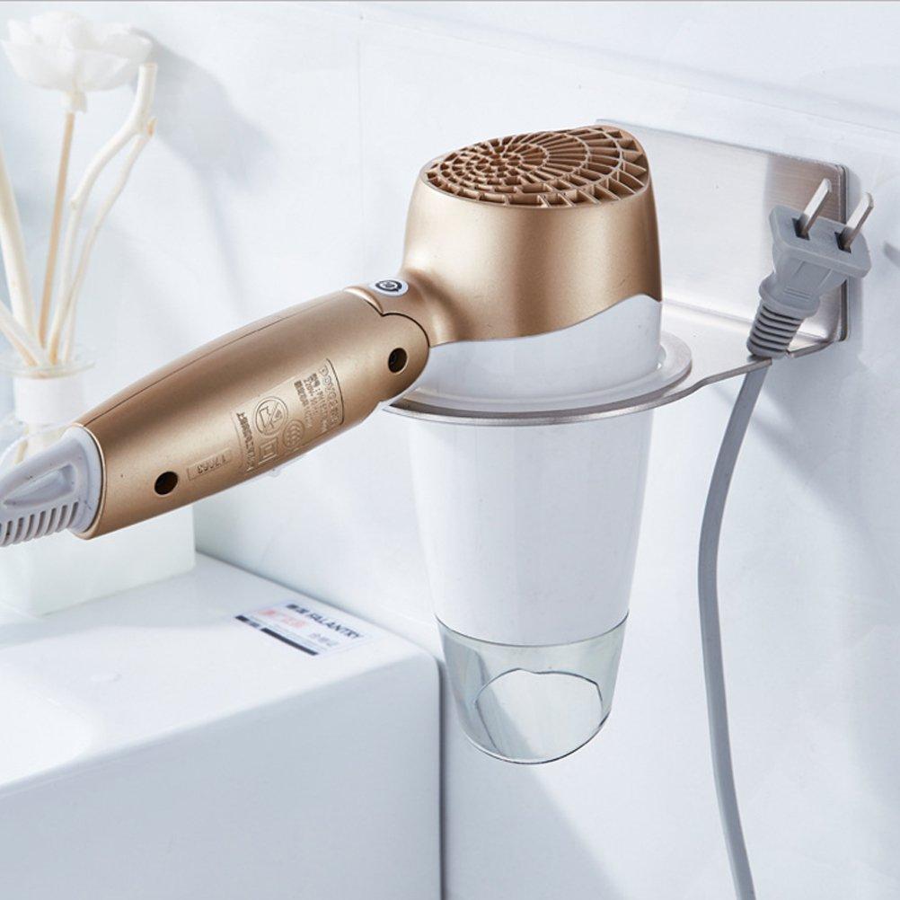 HBlife Self Adhesive Hair Dryer Holder, 304 Stainless Steel Hair Dryer Rack, Wall Mount Hair Dryer Organizer For Bathroom Washroom Accessories Storage Organizer Set