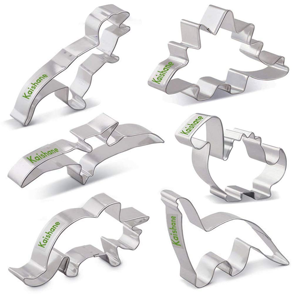 KAISHANE Dinosaur Cookie Cutters Set for Kids 6 Piece Stainless Steel Biscuit Mould Baking Pastry Cake Decoration