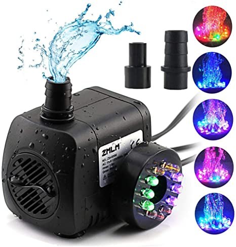 Fountain Pool Home Garden Pond Fish Submersible Water Pump with 12 LED Light