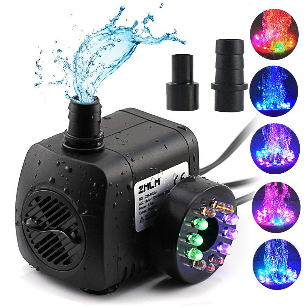 ZMLM Fountain Pump 220 GPH, Submersible Water Pumps (800L/H, 15W), Ultra Quiet Water Pump With12 LED Colorful Lights, 2 Nozzles, Easy Install Powerful Pump for Fish Tank, Pond, Aquarium, Statuary by ZMLM