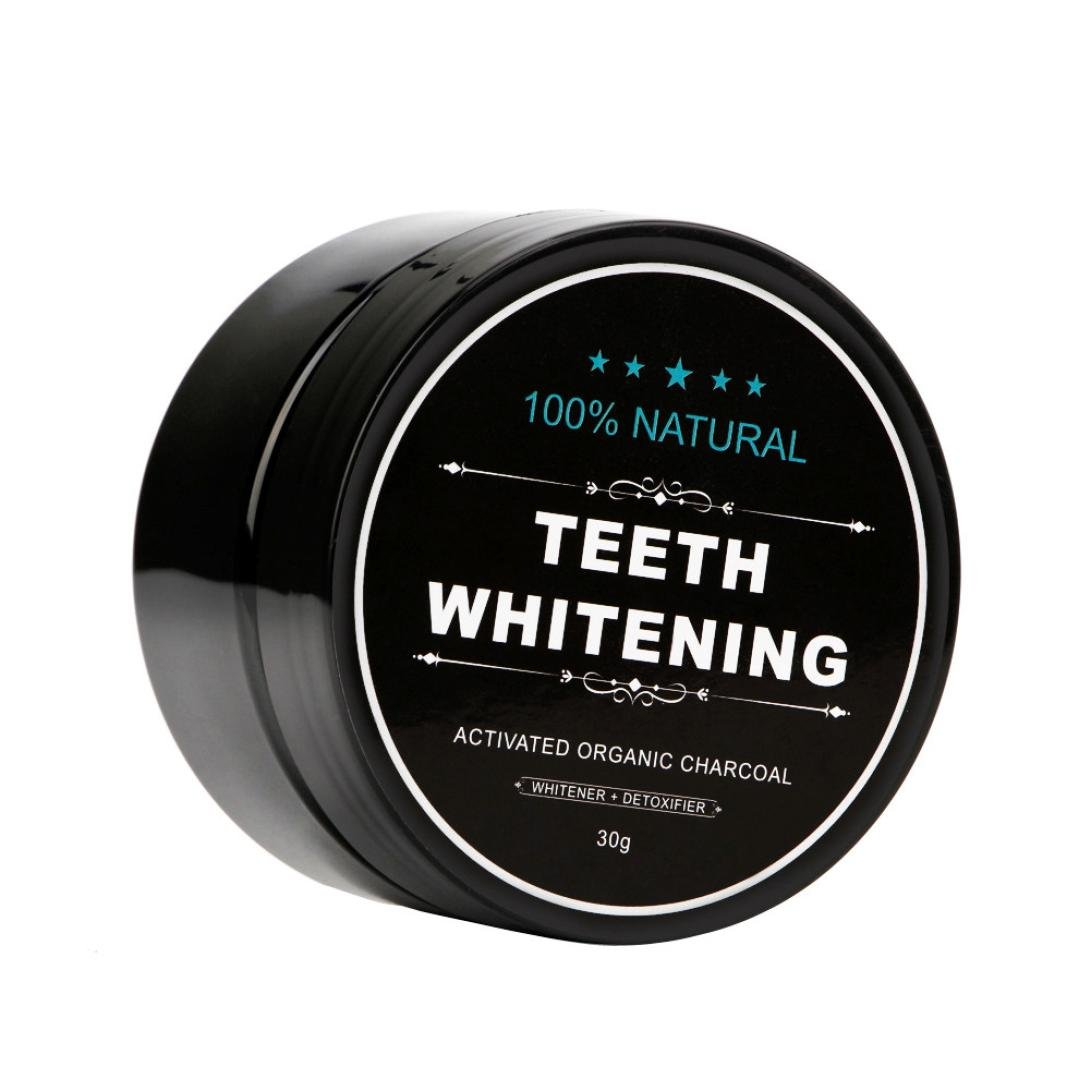 Sinwo Teeth Whitening Powder Natural Organic Activated Charcoal Bamboo Toothpaste Freshens Breath (30g(Without toothbrush))