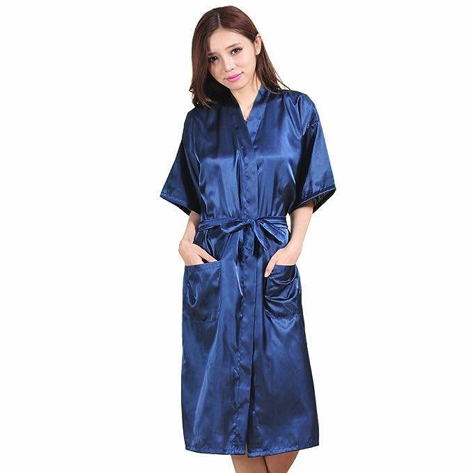 Mujer Pijama Kimono Satén Seda de Manga 1/2 Hueca Elástico Estilo de Encaje Elegantes