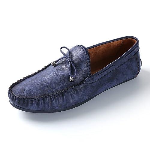 4a28314bd940d8 Homme Chaussure de Conduite de Cuir Basse Souple Mocassin Chaussure de Ville  au Loisir Soulier Plate