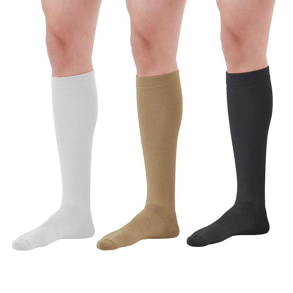 Ames Walker AW Styles 120 125 150 Coolmax 20-30mmHg Firm Compression Knee High Socks (3-pack) White Khaki Black Large-Relieves tired aching and swollen legs-symptoms of varicose veins