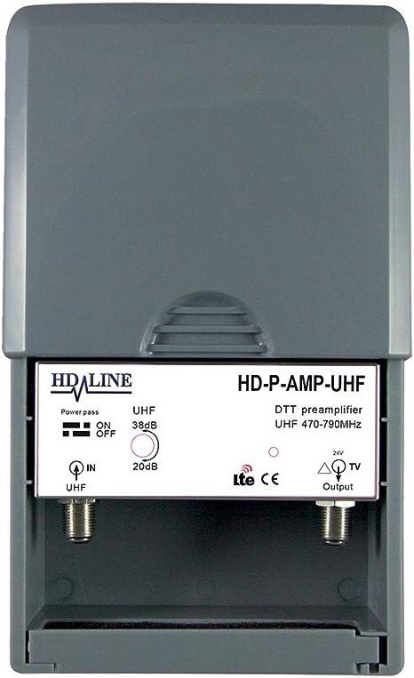 HD-Line HD-P-AMP-UHF – Preamplificador de mástil UHF terrestre TNT 38 dB, Gris