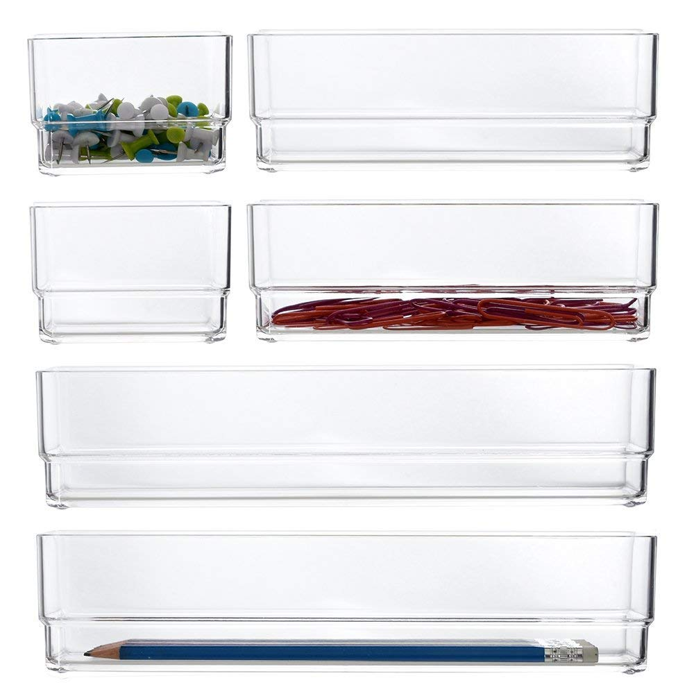 Clear Plastic Vanity and Desk Drawer Organizers | 6 Piece Set