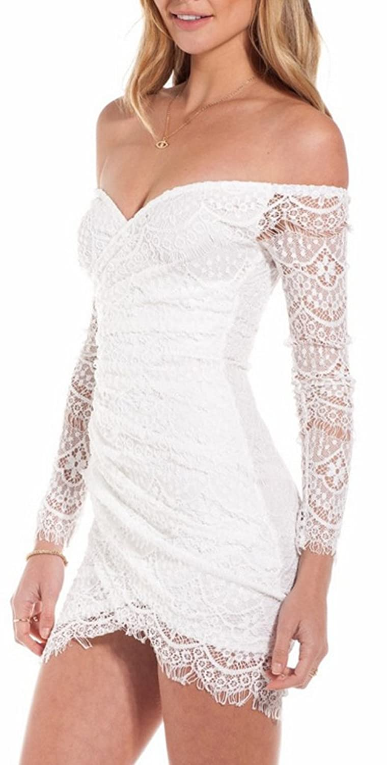 Lucky Girl Women's Strapless Low-cut Lace Sleeves Dress