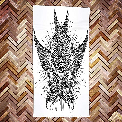 Soft Towel All Seeing Eye of Providence Hand Drawn Vintage Style Winged Angel Seraphim Inspired Decorative for Bathroom, Hotel, Gym and Spa/3d Printing/Water Absorption/Multipurpose