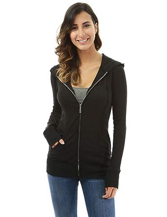 b32eb94cd30 PattyBoutik Women Hooded Long Sleeve Zip Up Jacket