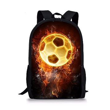 HLLZL Bolso de Hombro de la Escuela de los niños Mochila de la impresión del relámpago del fútbol para los Muchachos Adolescentes con: Amazon.es: ...